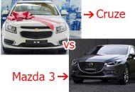 so sánh xe chevrolet cruze và mazda 3