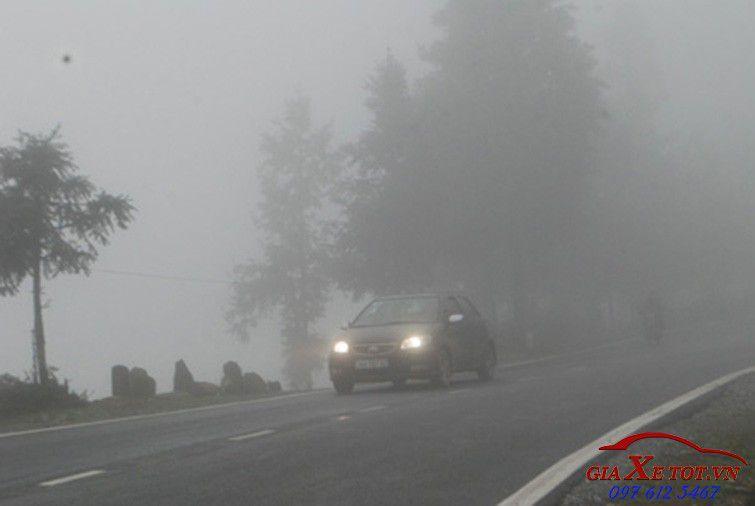 lái xe ô tô khi sương mù