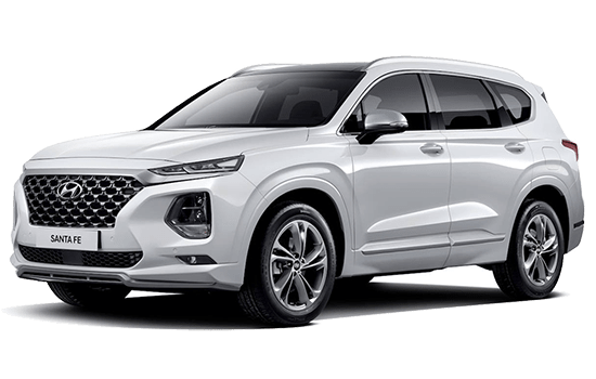 hyundai santafe màu trắng 2019